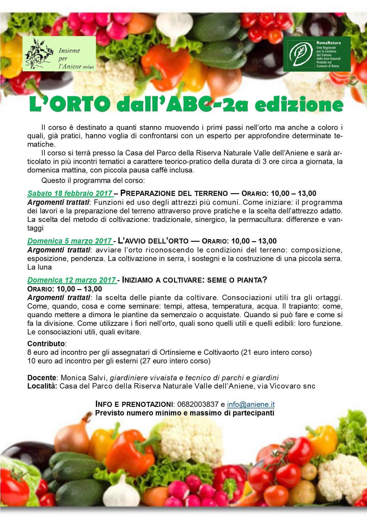 """Corso di orticoltura di base """"L'orto dall'ABC"""" - seconda edizione"""