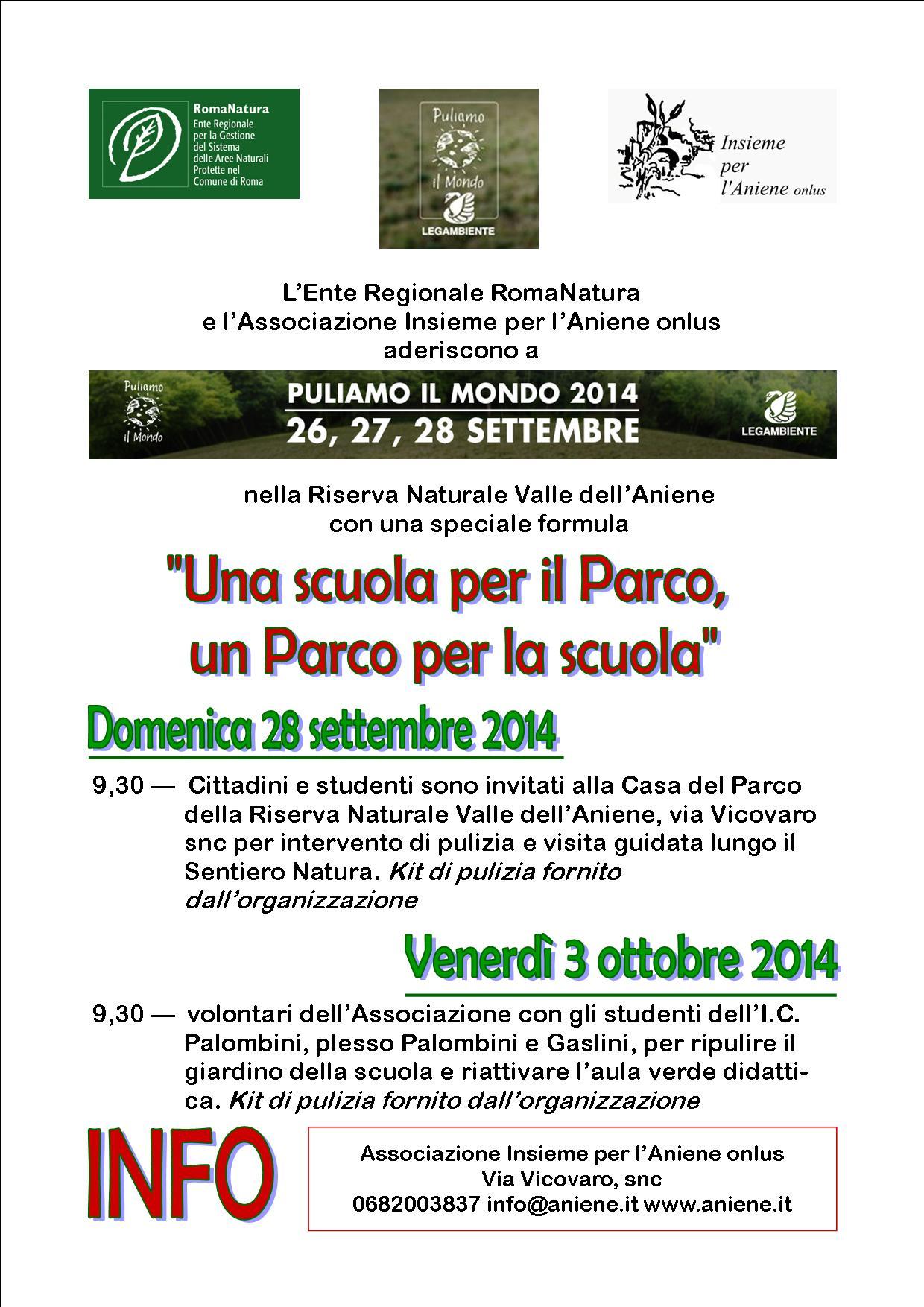 PULIAMO IL MONDO 2014 - LA SCUOLA PER PARCO, IL PARCO PER LA SCUOLA