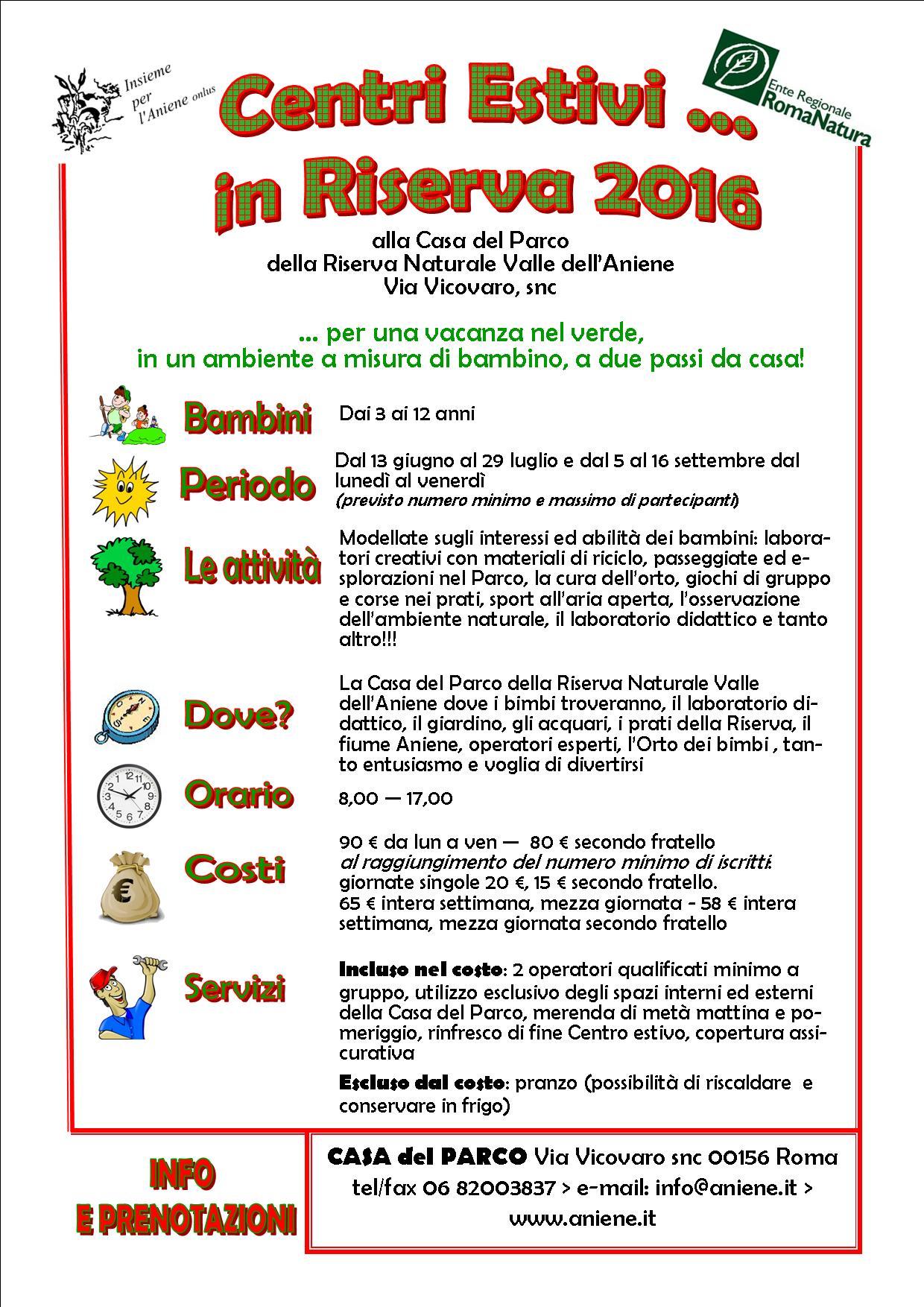 Centri Estivi in Riserva .... 2016: una tradizione che si ripete!