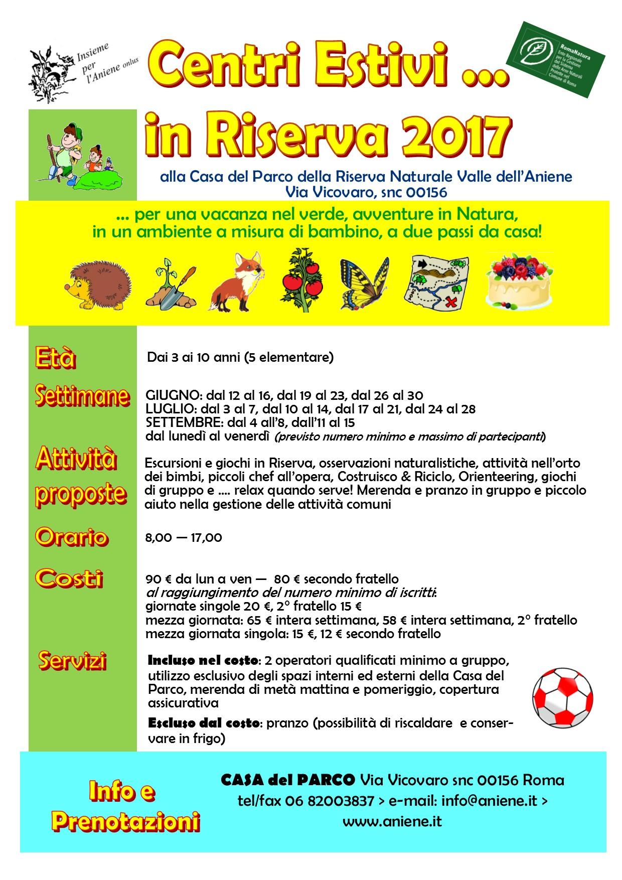 Centri Estivi in Riserva 2017