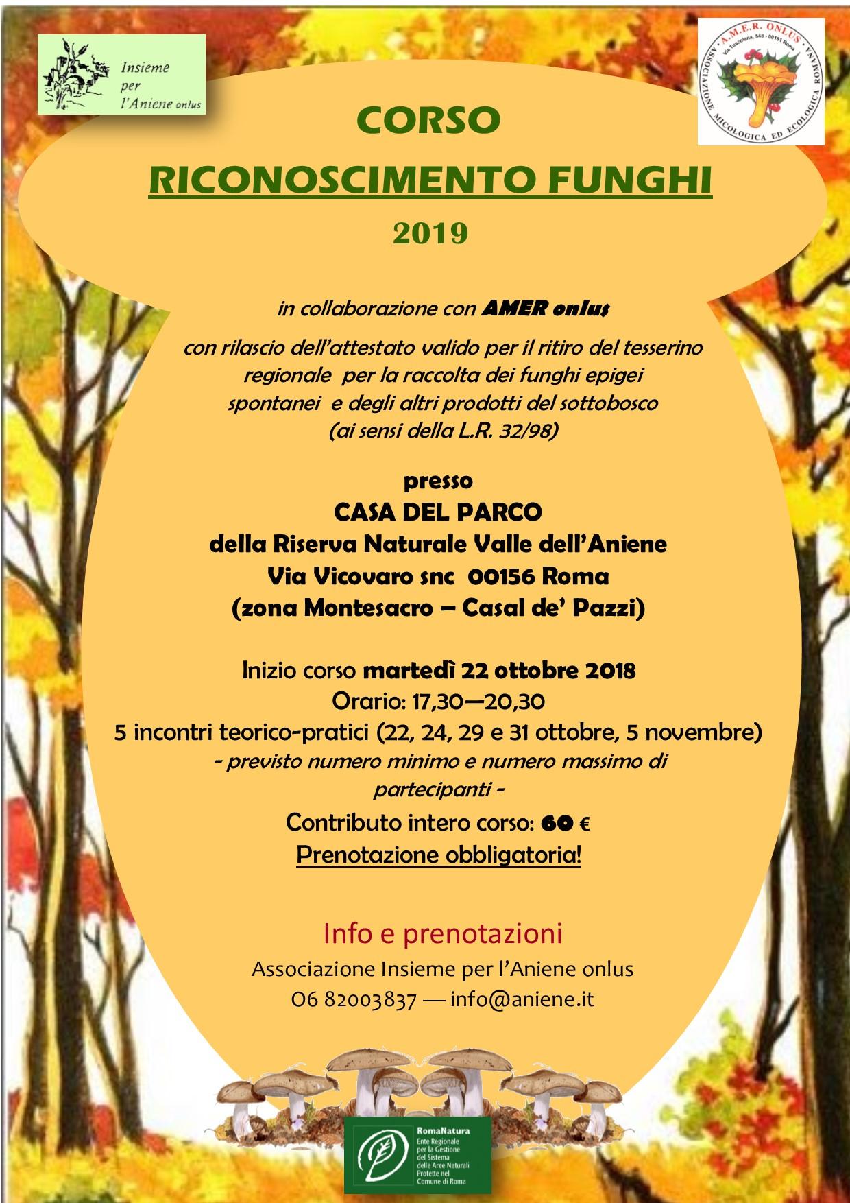 CORSO RICONOSCIMENTO FUNGHI 2019