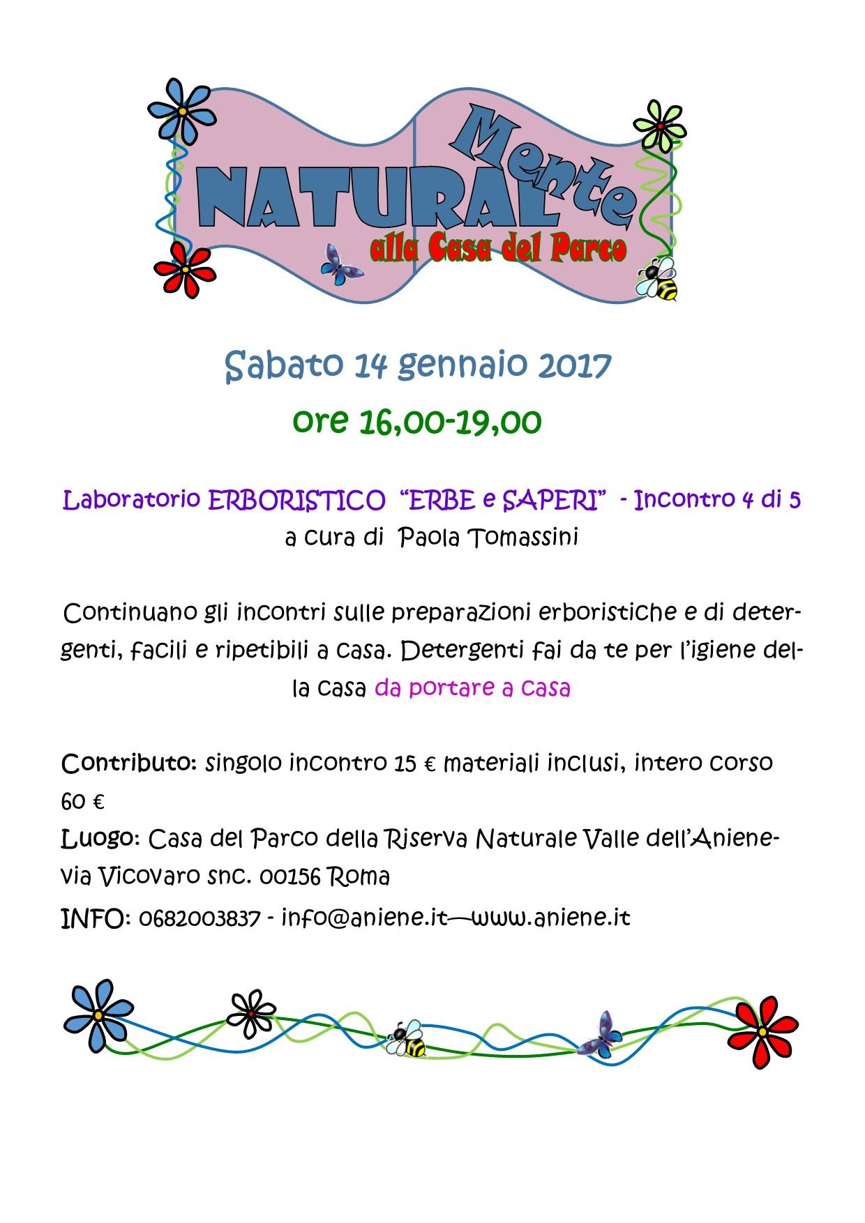 """Laboratorio ERBORISTICO  """"ERBE e SAPERI""""  - Incontro 4 di 5 a cura di  Paola Tomassini"""