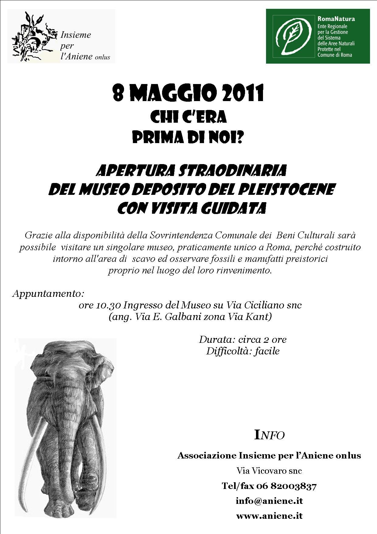ANNULLATA 8 MAGGIO 2011 APERTURA STRAORDINARIA DEL MUSEO DEPOSITO DEL PLEISTOCENE