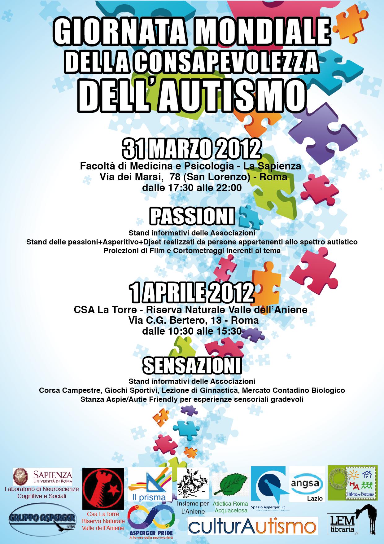 DOMENICA 1 APRILE 2012 GIORNATA MONDIALE DELLA CONSAPEVOLEZZA DELL'AUTISMO