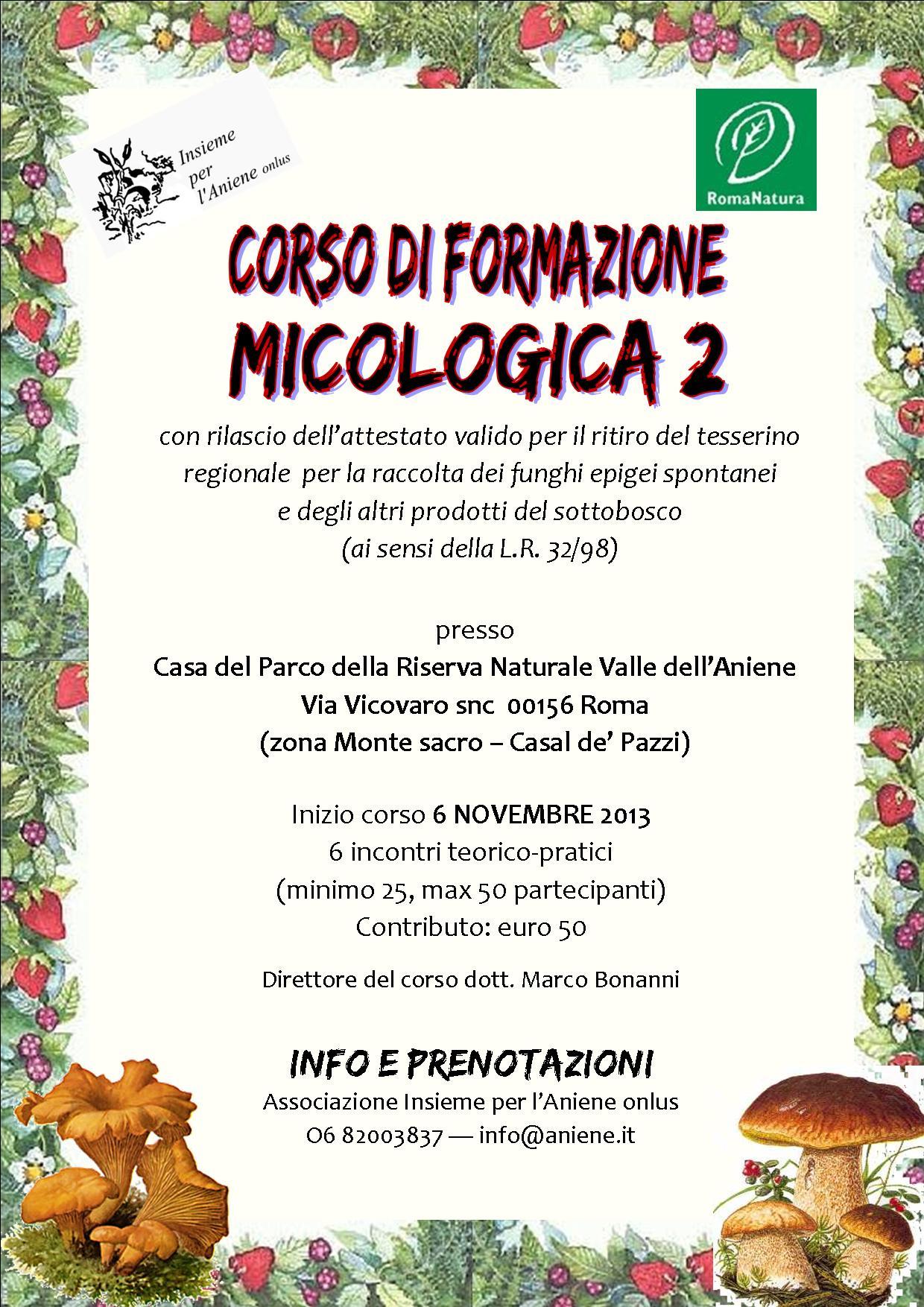 6 NOVEMBRE-15 NOVEMBRE-CORSO FORMAZIONE MICOLOGICA 2