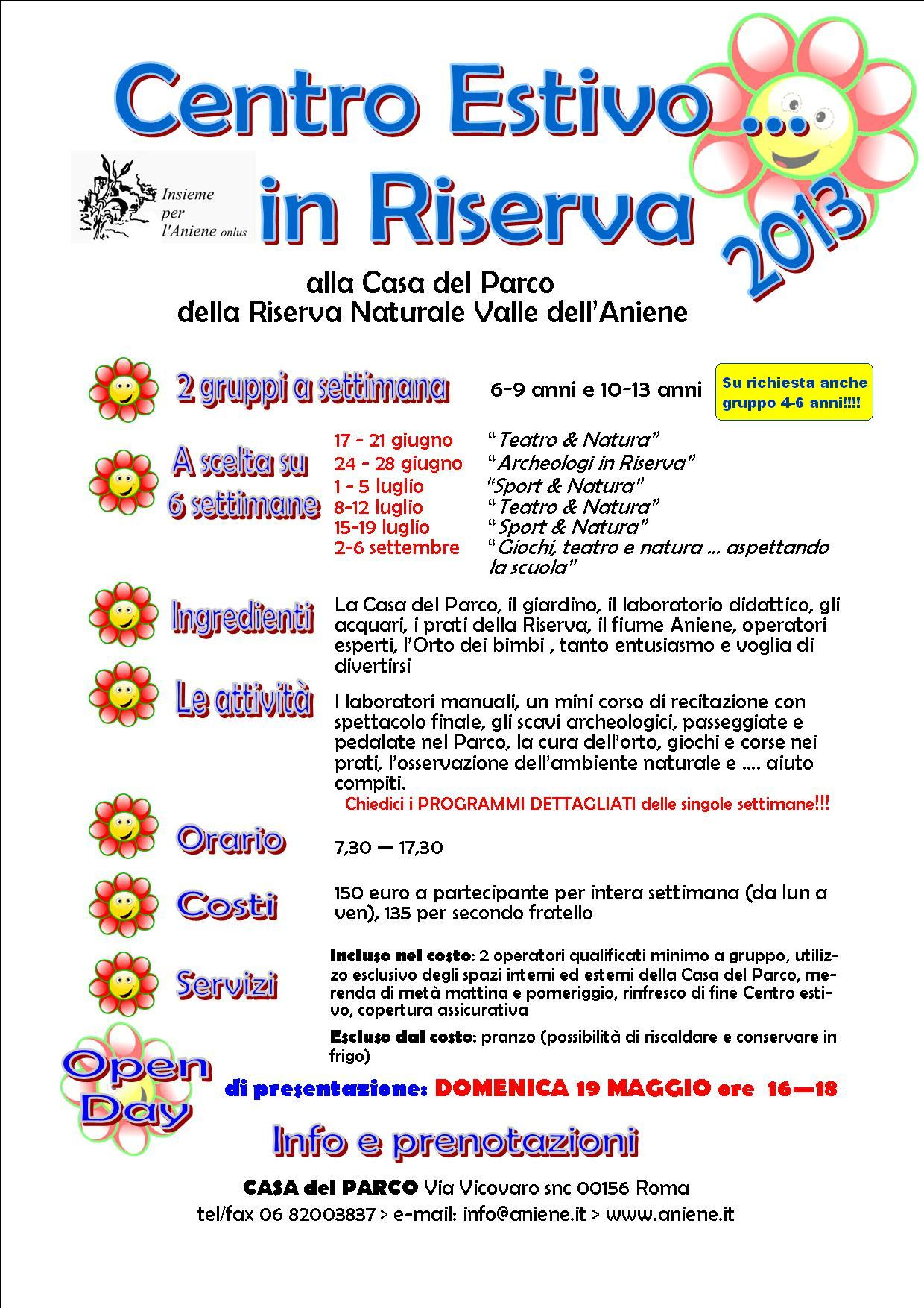 """19 MAGGIO 2013-OPEN DAY """"CENTRI ESTIVI IN RISERVA"""""""