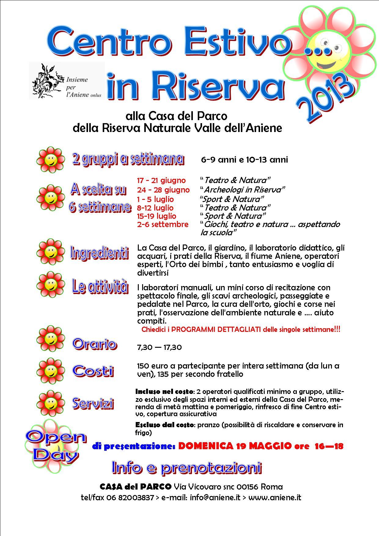 CENTRI ESTIVI IN RISERVA 2013