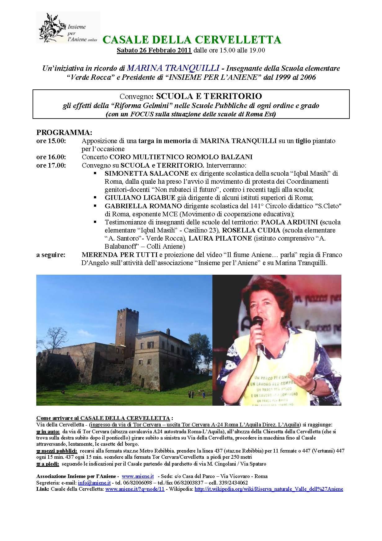 26 Febbraio 2011 Casale della Cervelletta Convegno SCUOLA E TERRITORIO
