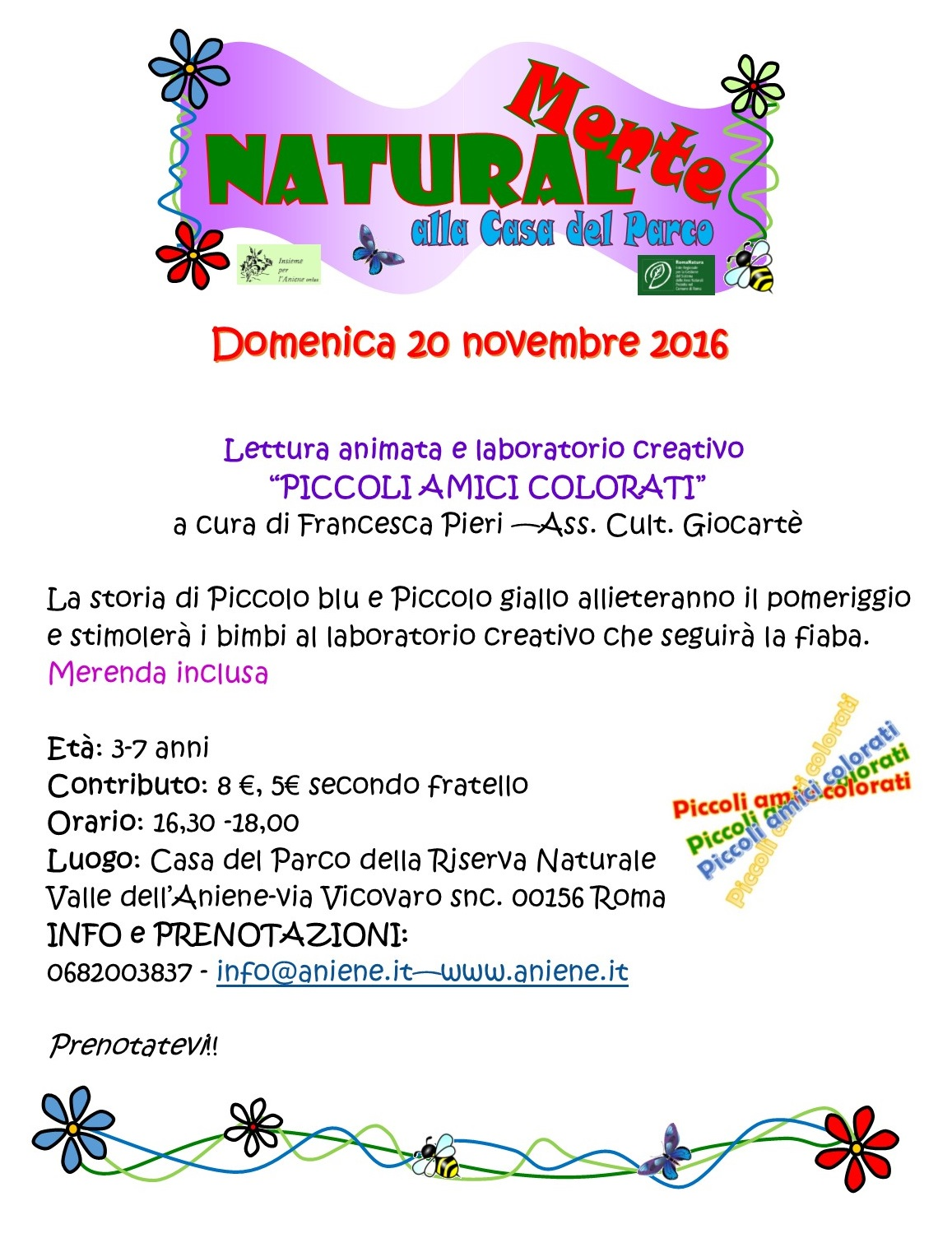 "Lettura animata & laboratorio creativo ""PICCOLI AMICI COLORATI"""